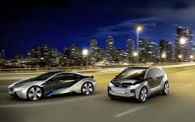 Bmw I8 Night - silver bmw i3 and i8 coming in pairs on the background of night