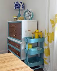 Ikea Kitchen Cart Makeover - diy tri color dresser makeover