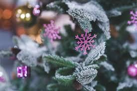 pink snowflake christmas tree decoration free stock photo