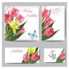 Wedding Invitation Cards Wedding Invitation Cards With Spring Flowers Tulips Narcissus