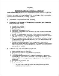 investment advisory agreement templates investment advisory