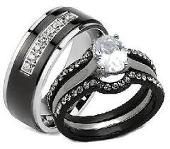 his and hers engagement rings sets his hers 4 black stainless steel titanium matching wedding