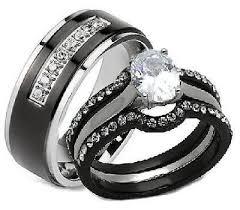 wedding ban his hers 4 black stainless steel titanium matching wedding