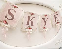 name banner pink and gold birthday shabby chic nursery