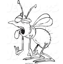 vector of a cartoon tired house fly coloring page outline by