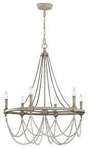 Choros Chandelier Beverly 6 Light Chandelier French Washed Oak Distressed White