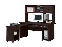Linda 3 Piece Computer Desk with Hutch Home Office Set in Espresso