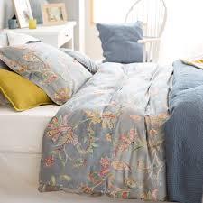 blue floral print bedding linen bedroom bed linen and linen bedding