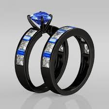 wedding ring sets south africa sapphire heart cut with blue emerald cut sidestone rhodium plating
