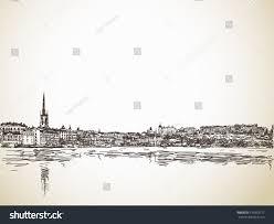 skyline sketch stockholm water reflection hand stock vector