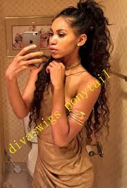 fashion women natural curly wrap round drawstring ponytail hair