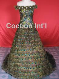 peacock feather wedding dresses designs