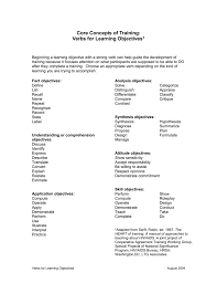 core concepts of training writing learning objectives i tech