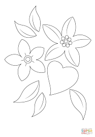 heart and flowers coloring page free printable coloring pages