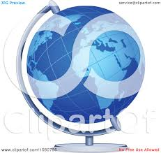 clipart blue desk globe royalty free vector illustration by