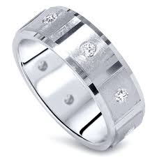 mens white gold wedding band 1 00ct diamond mens comfort fit wedding band 14 karat white gold