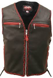 red motorcycle jacket the elite motorcycle leather vest red black braiding