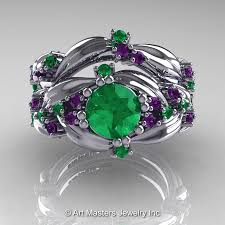 emerald amethyst rings images Nature classic 14k white gold 1 0 ct emerald amethyst leaf and jpg