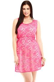 pink lace sleeveless plus size skater dress online store