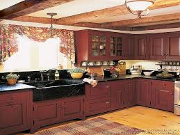 Kitchen Red Cabinets by Lovely Rustic Red Painted Kitchen Cabinets Attractive Kitchen