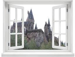 window with a view harry potter hogwarts castle daytime wall