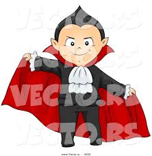 halloween graphic art vector of a scary halloween cartoon boy in a vampire costume by