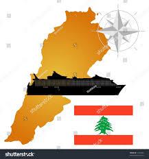 Map Of Lebanon Vector Map Lebanon Silhouette Ship Flag Stock Vector 73731862