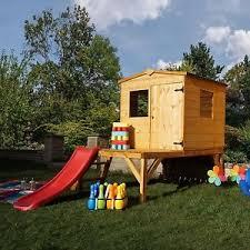 Wooden Backyard Playhouse Buttercup Tower U0026 Slide Wooden Outdoor Play House Playhouse