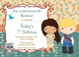printable pocahontas birthday party invitation plus free blank