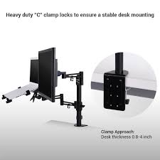 pricedepot loctek d2dl 2 in 1 dual monitor arm desk laptop