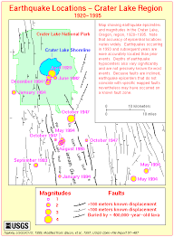 map of oregon near crater lake crater lake oregon historical earthquakes