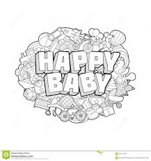 happy baby hand lettering and doodles elements sketch stock