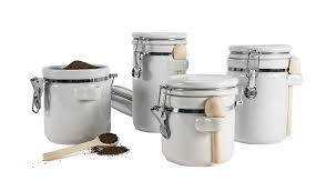 oggi kitchen canisters amazon com anchor hocking 4 piece ceramic canister set with clamp