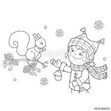 coloring outline cartoon feeding squirrel winter