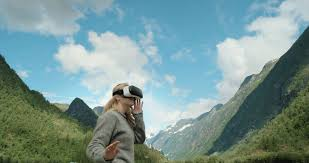 Outdoor Traveler images Brave woman traveler in norway looking at mountain view wearing