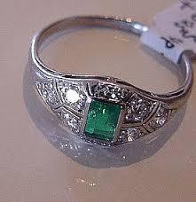 platinum art deco emerald and diamond ring item 747015