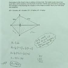 Area Formula by Area Of Kite Students Are Asked To Find The Area Of A Kite By