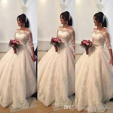 2016 beaded lace arabic wedding dresses bateau half sleeves ball