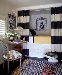 Navy And White Striped Curtains Horizontal Stripe Curtains Eclectic Bedroom Stephen Shubel