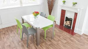 White Dining Table And Coloured Chairs White High Gloss Table Colourful Faux Leather Dining Chairs
