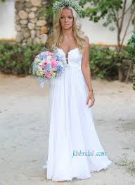 h1398 sheer back boho beach chiffon wedding dress