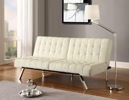 white leather futon sofa emily futon with splitback youtube