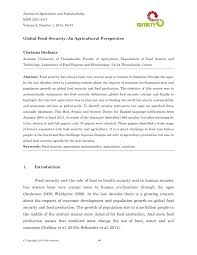 global food security an agricultural perspective