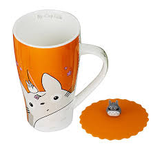 amazon com totoro mug with silicone lid random color coffee