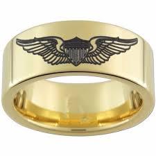 Tungsten Comfort Fit Wedding Bands 8mm Gold Pipe Tungsten Carbide Ring Comfort Fit Pilot Wings Black