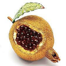 gold burgundy pomegranate ornament