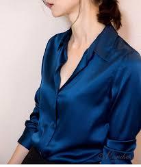 womens silk blouses s xxxl fashion blue satin silk blouse casual