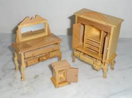 doll house miniature bedroom set bed vanity bench armoire bedside