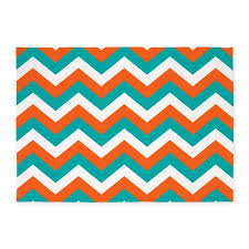 5 X 7 Area Rug Teal U0026 Orange Chevron Pattern 5 U0027x7 U0027area Rug By Colors And Patterns 1
