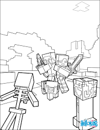 fight all the mobs coloring page on minecraft video game more
